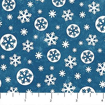 Below Zero Flannel - Snowflakes on Dark Blue by Deborah Edwards for Northcott