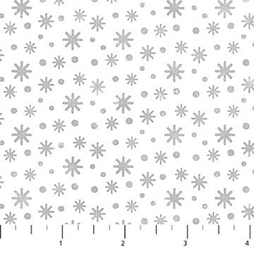 Below Zero Flannel - Snowflakes in Grey on White by Deborah Edwards for Northcott