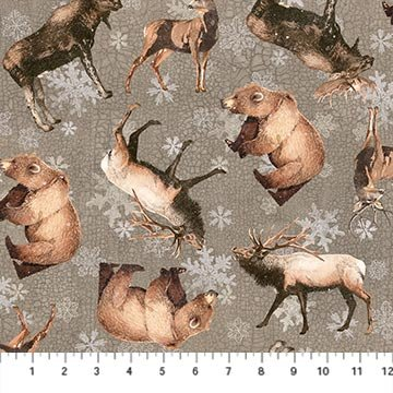 North Ridge Flannel - Animal Toss on Grey by Lynnea Washburn for Northcott