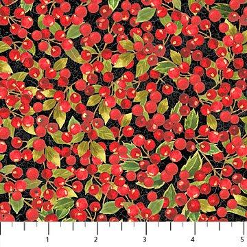 Cardinal Woods Flannel - Berries on Black by Deborah Edwards for Northcott