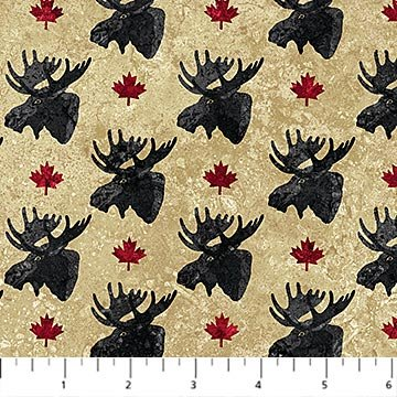 Oh Canada Flannel 2019 - Moose Head on Beige by Deborah Edwards and Linda Ludovico for Northcott
