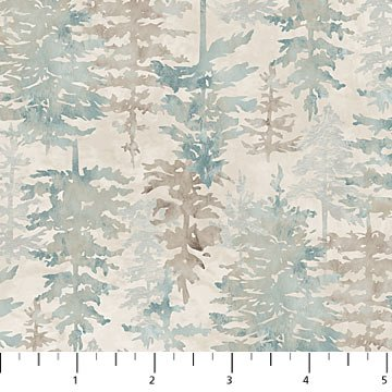 Misty Mountain Flannel - Pine Trees in Taupe by Northcott Studio for Northcott