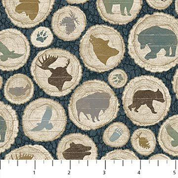 Outdoor Adventures Flannel - Animals in Teal Multi by Deborah Edwards for Northcott