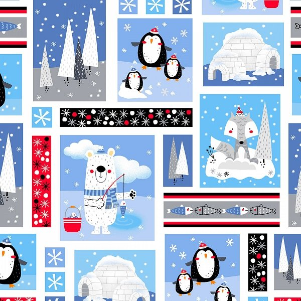 Polar Pals Flannel - Patch in Blue by Swizzle Sticks Studio for Studio E