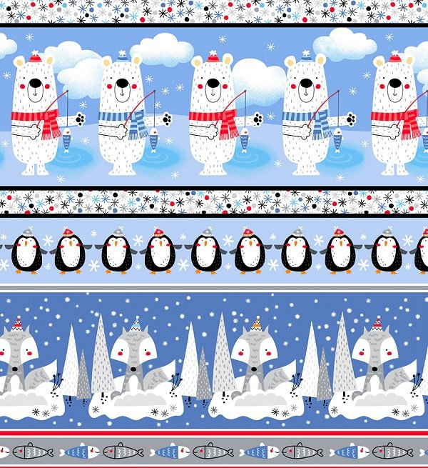 Polar Pals Flannel - Stripe in Blue by Swizzle Sticks Studio for Studio E