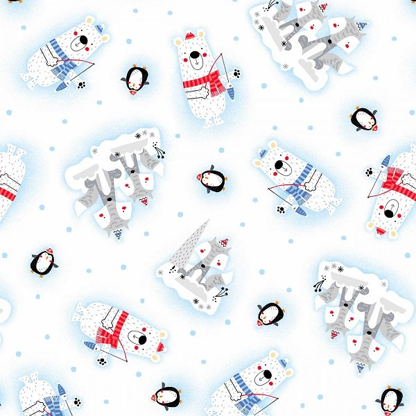 Polar Pals Flannel - Tossed Animals on White by Swizzle Sticks Studio for Studio E