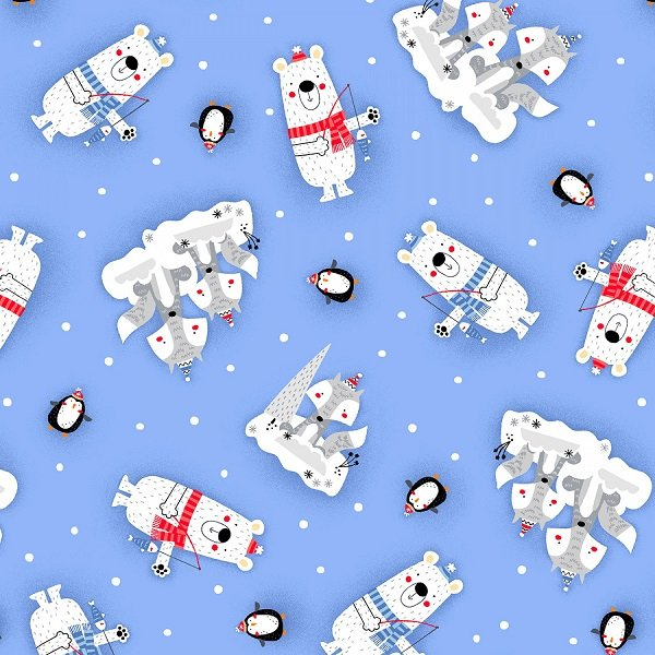 Polar Pals Flannel - Tossed Animals on Blue by Swizzle Sticks Studio for Studio E