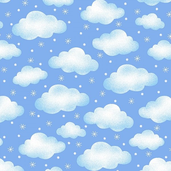 Polar Pals Flannel - Clouds on Light Blue by Swizzle Sticks Studio for Studio E