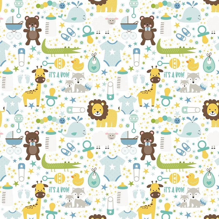 Designer Flannel - Sweet Baby Boy Main Print in White by Lori Whitlock for Riley Blake