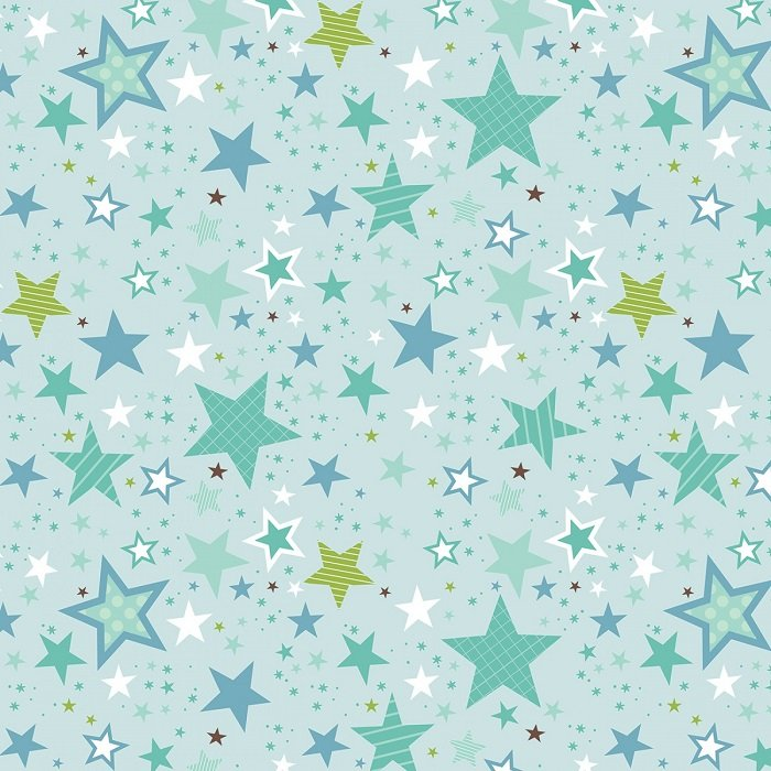 Designer Flannel - Sweet Baby Boy Stars on Blue by Lori Whitlock for Riley Blake
