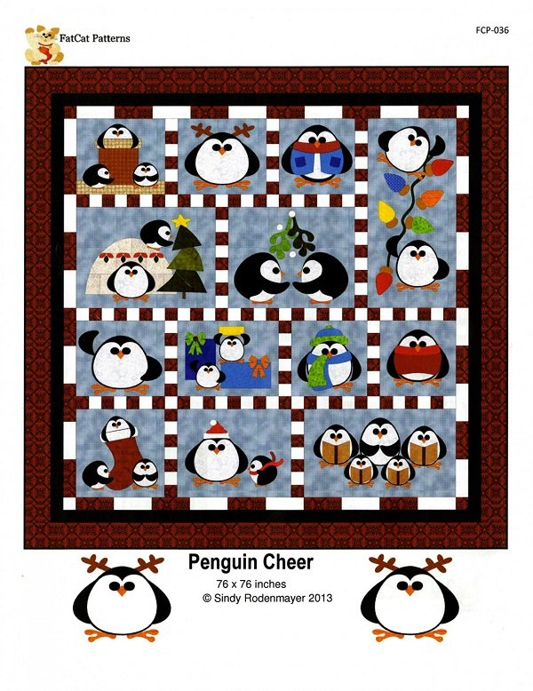 Pattern - Penguin Cheer (76 x 76) by Sindy Rodenmayer for Fat Cat Patterns