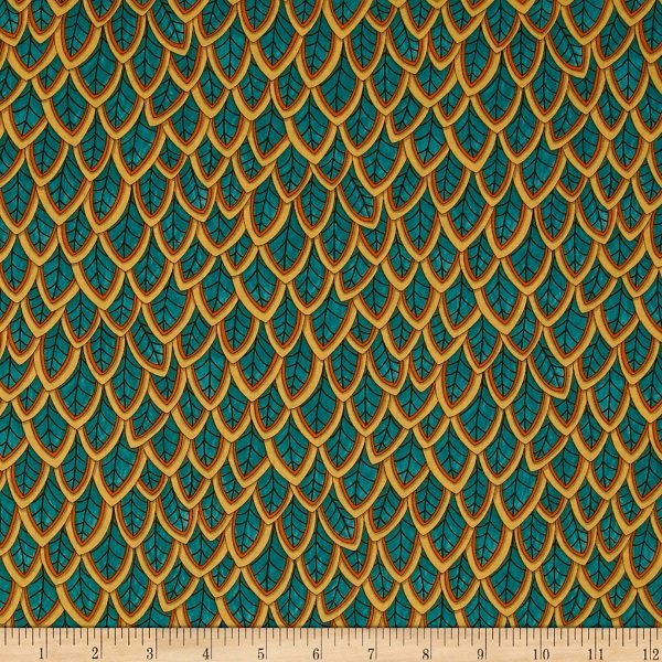 Forest Fancy - Fanciful Feathers in Autumn Teal by Deb Strain for Moda