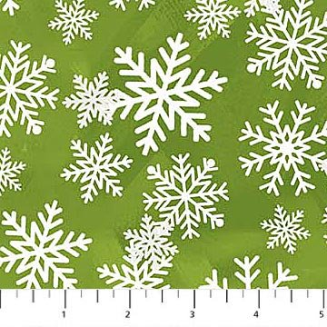White Christmas - Snowflakes in White on Green by Richard Macneil for Northcott