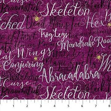 Elegantly Frightful - Words with Glitter on Purple by Northcott Studio for Northcott