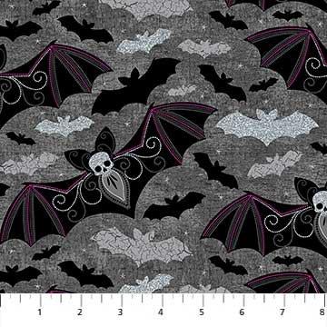 Elegantly Frightful - Bats with Glitter on Dark Grey by Northcott Studio for Northcott