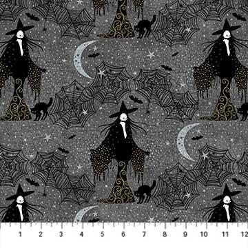 Elegantly Frightful - Witches with Glitter on Dark Grey by Northcott Studio for Northcott