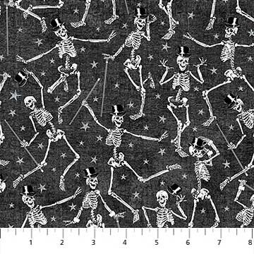 Elegantly Frightful - Dancing Skeletons with Glitter on Black by Northcott Studio for Northcott