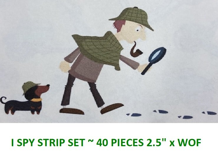 Strip Set - I Spy Collection (40 - 2.5 x WOF strips) by Quincy's Quilting