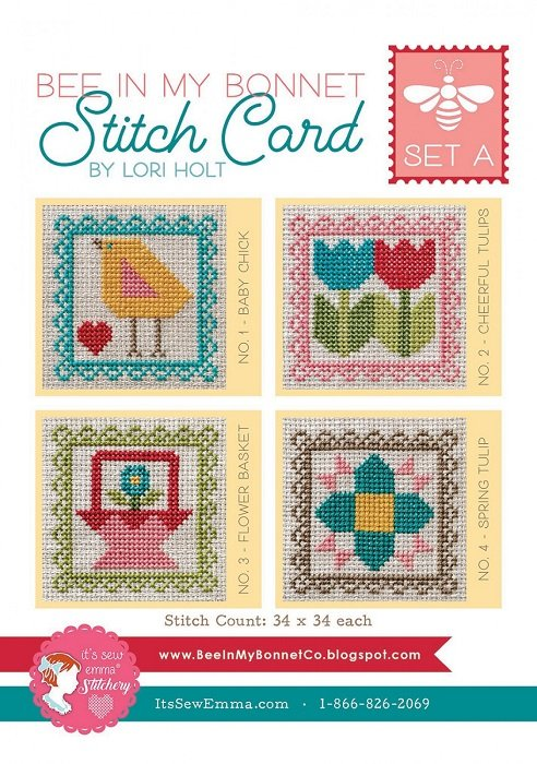 Bee In My Bonnet Cross Stitch Cards (Set A) by Lori Holt for It's Sew Emma