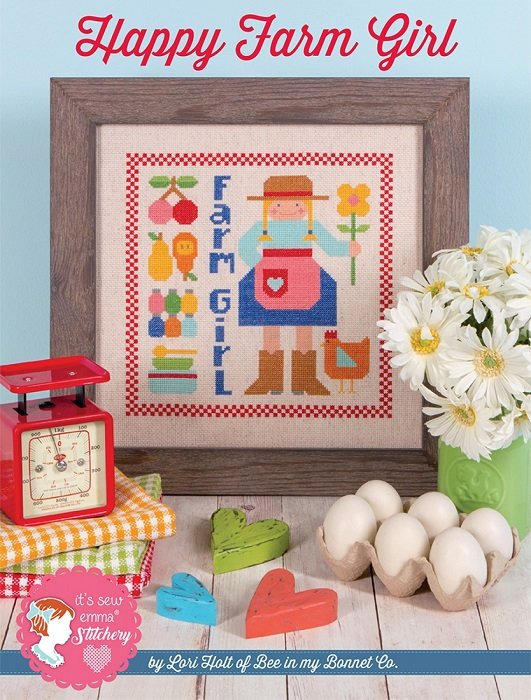 Pattern - Happy Farm Girl Cross Stitch by Lori Holt for It's Sew Emma