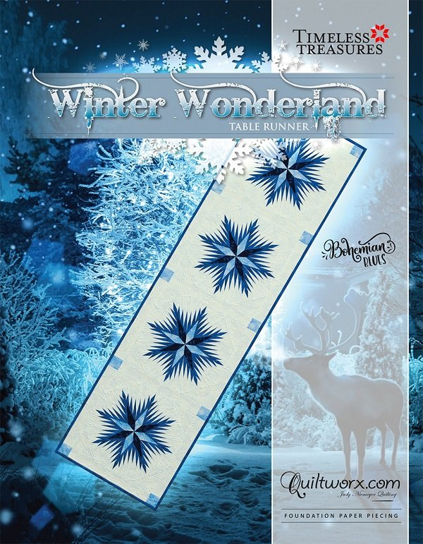 Pattern - Winter Wonderland Snow Flakes Table Runner (20 x 74) by Judy Niemeyer from Quiltworx