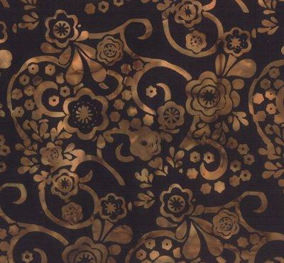 Bali Handpaints - Blooms in Antique Black by Hoffman