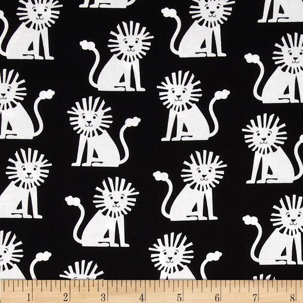Black and White Collection - Mini Lions in White on Black by Michael Miller