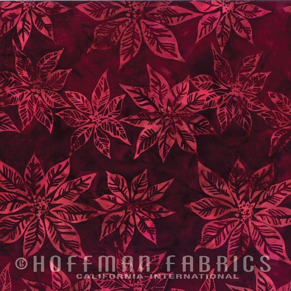 Bali Handpaints - Poinsettia in Bordeaux by Hoffman