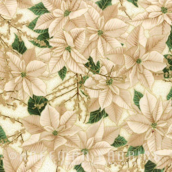 Berries and Blooms - Poinsettias with Berry Branches in Ivory with Gold by Hoffman