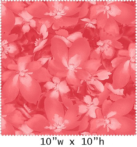 Catalina - Tonal Blossoms on Light Red by Marti Michell for Maywood Studio