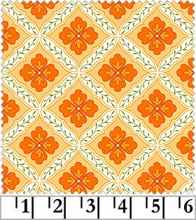 Catalina - Geometric Flower in Orange by Marti Michell for Maywood Studio
