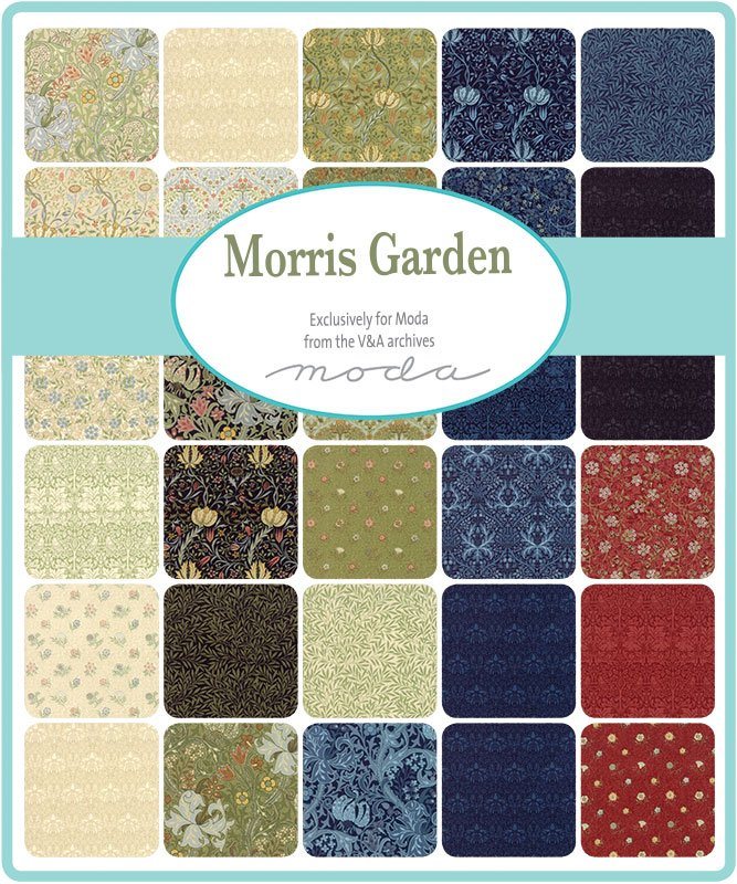 Charm Squares - Morris Garden (40 x 5 squares) by V and A Reproduction for Moda