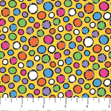 Kool Kats - Dots on Yellow by Jenny Foster for Northcott