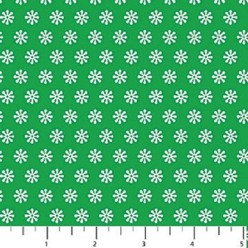 Holiday Hoot Flannel - Snowflake on Green by Deborah Edwards for Northcott