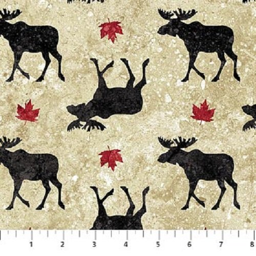 Oh Canada - Moose on Beige by Northcott