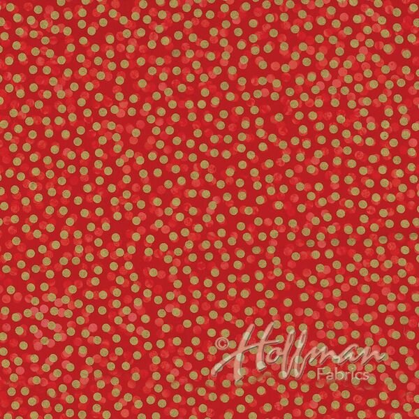 Precious Metals Bali Batiks - Packed Circles in Cherry / Gold by Hoffman