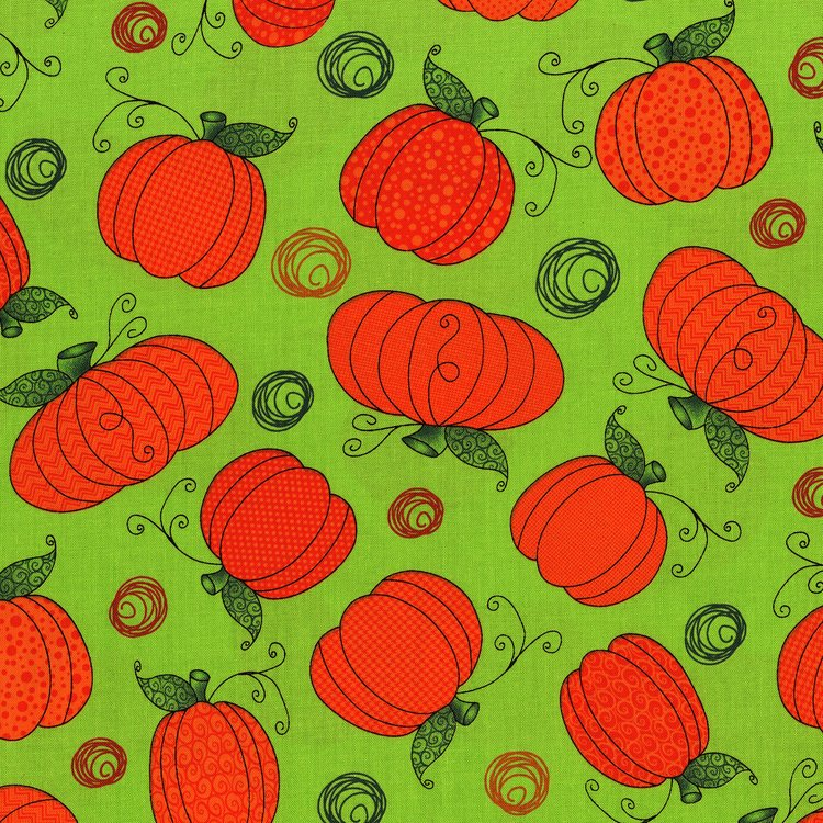 Happy Owl O Ween - Pumpkin Patch on Green by Sue Marsh for RJR Fabrics