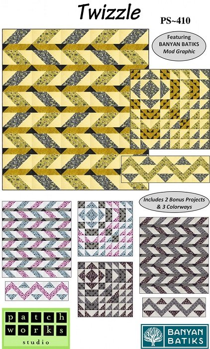 Pattern - Twizzle (Quilt, Wall Hanging & Table Runner) by Daphne Greig from Patchworks Studio