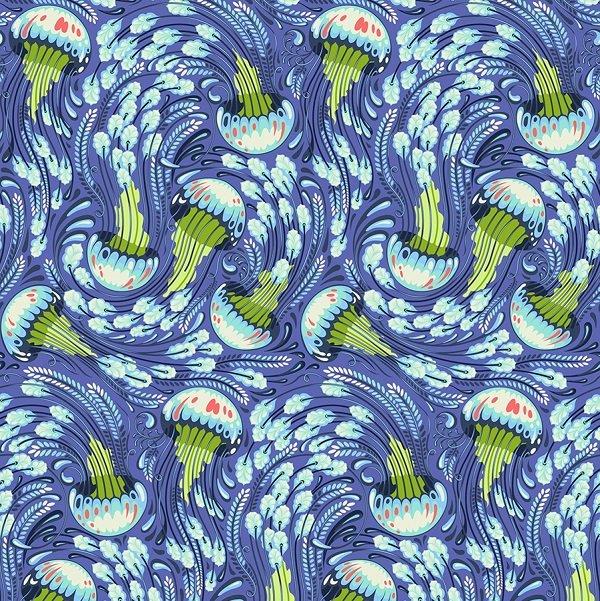 Zuma - Sea Bloom in Aquamarine by Tula Pink for Free Spirit
