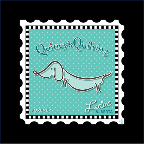 Charm Stamp - Quincy's Quilting (1 x 5 square) by Debra Gabel of Zebra Patterns