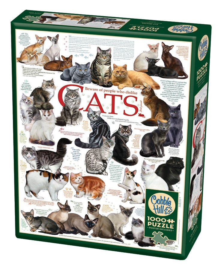 Puzzle - Cat Quotes (1000 piece) by Lucia Guarnotta for Cobble Hill