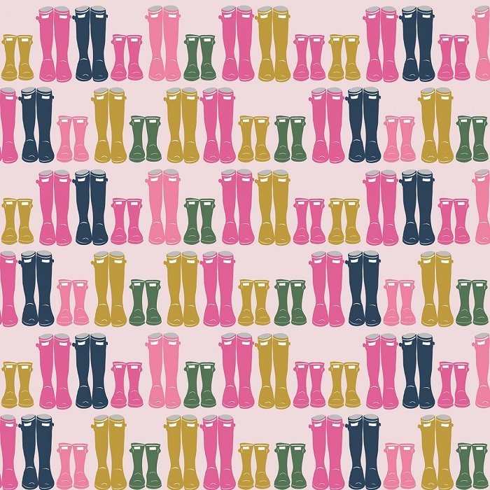 Fox Farm - Wellies on Pink with Sparkle by Melissa Mortenson for Riley Blake