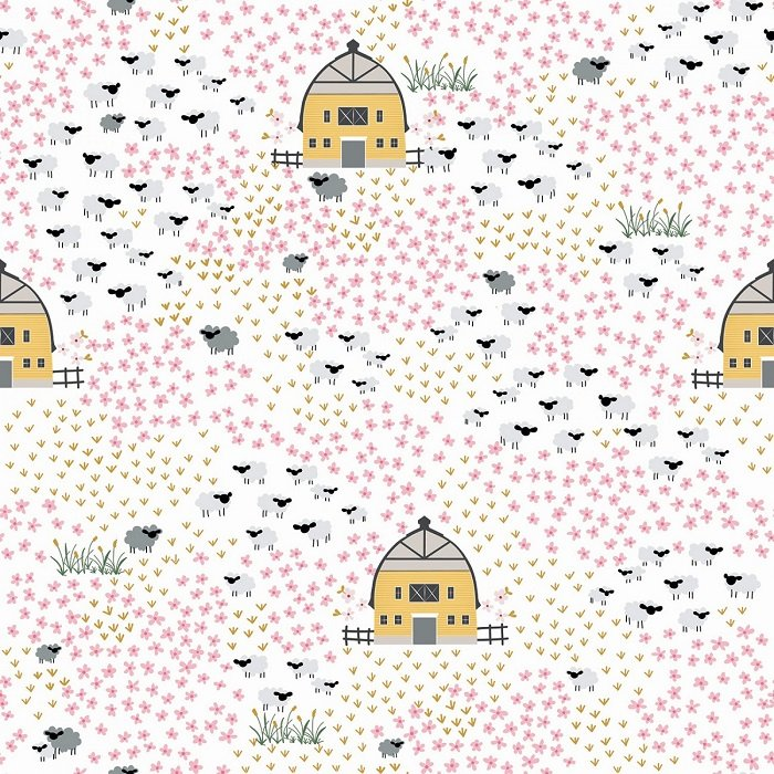 Fox Farm - Field on Cream with Sparkle by Melissa Mortenson for Riley Blake