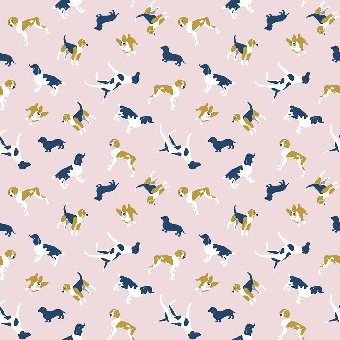 Fox Farm - Dogs on Pink with Sparkle by Melissa Mortenson for Riley Blake