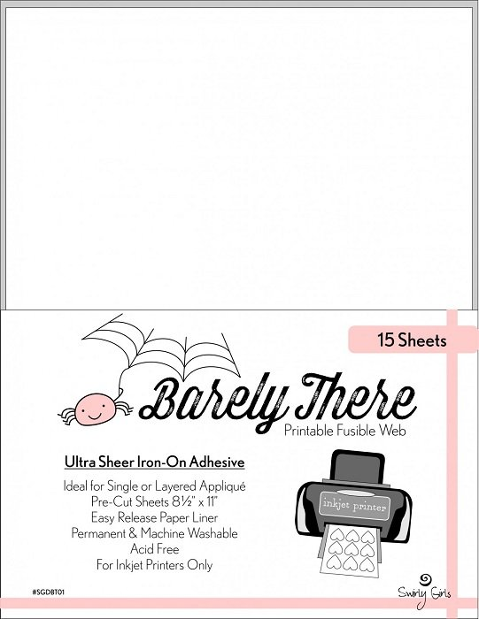 Barely There Printable Fusible Web (15 sheets) by Swirly Girls Design