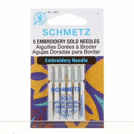 #1824 Gold Titanium Embroidery Needles Carded - 75/11 - 5 count by Schmetz