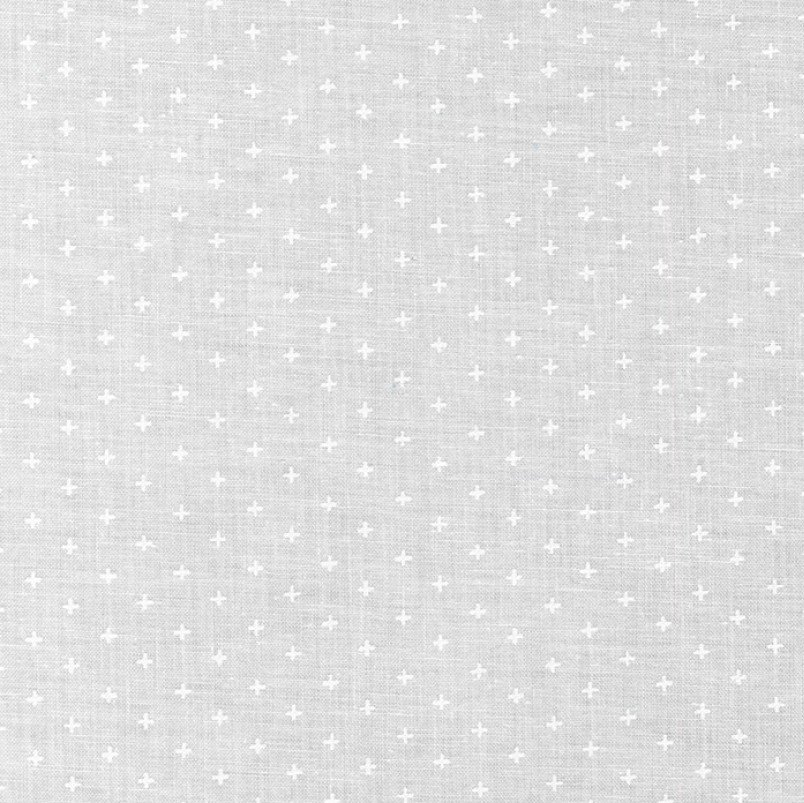 Mini Madness - Plus Signs in White on White by RKF Collection for Robert Kaufman