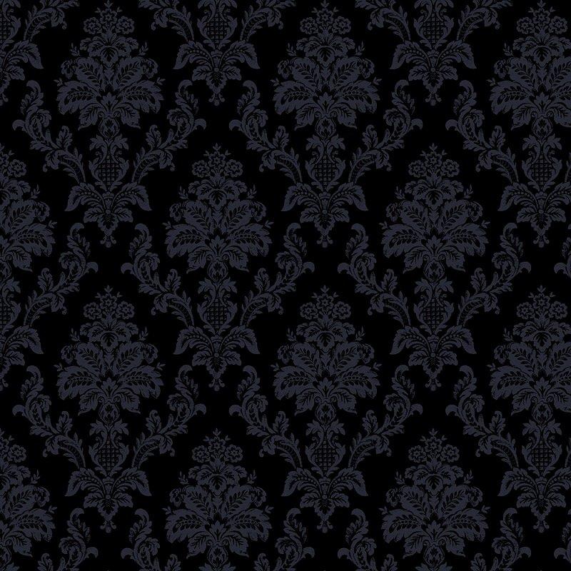 Monochrome Black - Damask in Black on Black by Dear Stella