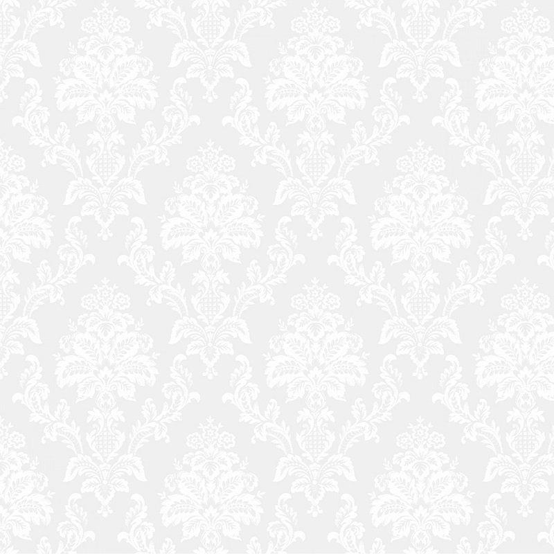 Monochrome White - Damask in White on White by Dear Stella