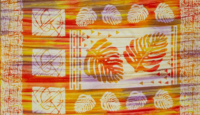 Panel - Tapa Cloth Batiks in Sunset (25 x 45) by Daphne Greig of Patchworks Studio for Banyan Batiks